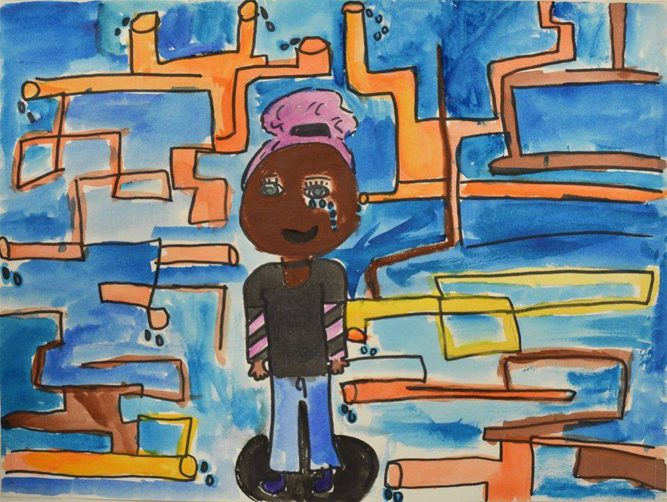 Drawing created by 8th grader, Jazmine L., at Linden Charter School in Flint, Michigan in response to the Flint water crisis.